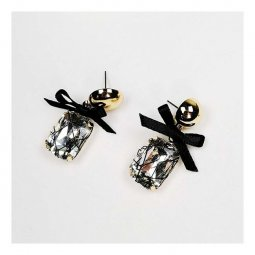 A-JX-E0164 Crystal Gem Bead Black Ribbon Glam Korean Earstuds