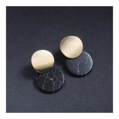 A-JT-95BLACK Black Marble With Golden Coin Korean Trendy Earstud