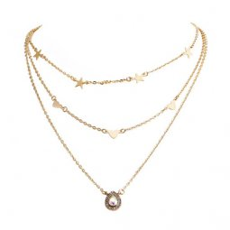 A-QD-N6860 White Crystal Teardrop Three Layer Short Necklace