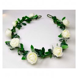 A-LB-010white Flowergirl Crown White Roses Flora Edition Headban