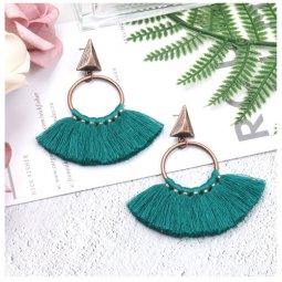 A-HH-HQEF1218green Vintage Green Tassel Earstuds Wholesale
