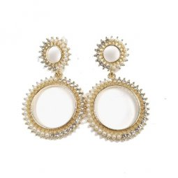 A-SD-ER104502 Gold White Pearls Two Circle Earstuds Malaysia