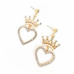 A-MDD-E1750 Crystal Studded Heart Shape Korean Crown Earrings