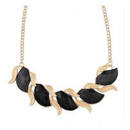 A-H2-100X365 Leafy Golden Floral Black Crystal Beads Necklace