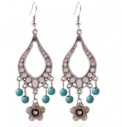 A-HY-E231 Turquoise Beads Antique Silver Oval Flower Hook Earrin