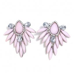 A-MY-pinkcry Pastel Purple Elegant Bold Crystal Earstuds Fashion