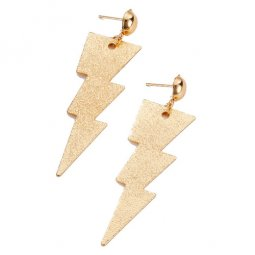 A-LG-ER0659a Dangling Golden Shiny Thunder Sign Earstuds