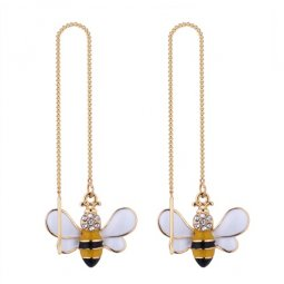 P133027 Bee Crystals Shiny Gold Korean Inspired Linked Earstuds