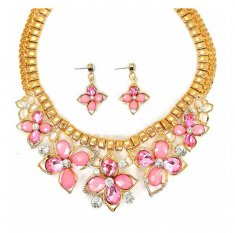 A-CJ-9470Pink Pink Crystal & Resin Flower Fancy Gold Statement