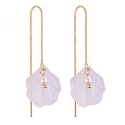 P131541 Leave Gold Dangling Bead Korean Inspired Linked Earstuds