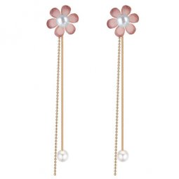 P132992 Purple Flower With Golden Tangling Pearl Beads Earstuds