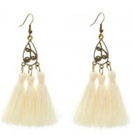 A-YG-sku4500 White Tassel Bohemian Vintage Hook Earrings