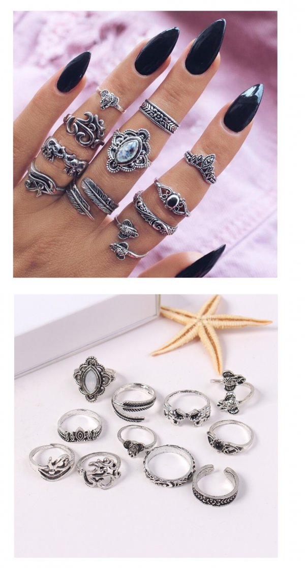 P132721 Silver Exotic Elephant Theme 11pcs Rings Set Fashion