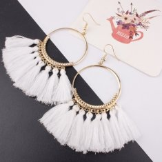 A-SD-SL218 White Tassels Round Bohemian Hook Earrings