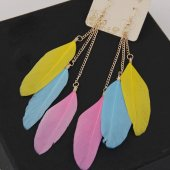 C0150732112 Pink Yellow blue spring hook feather earrings shop