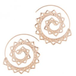 C0150732149 Elegant Gold Spiral Spike Korean Inspired Earstuds