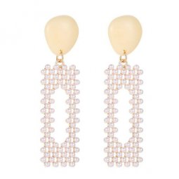 A-JW-4285 Trendy Beige Gems With White Pearl Beads Earstuds