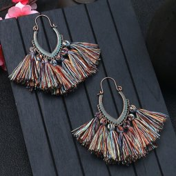A-HH-HQEF1068mix2 Mix Colorful Tassels Oval Curve Hook Earrings