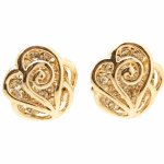C10112625 Gold shiny diamonds rose earstuds malaysia online shop