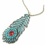 C10112222 Blue peacock feather long necklace korean accessories