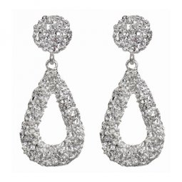 A-FX-E6019silver Silver Water Drop Shaped Korean Trendy Earstuds