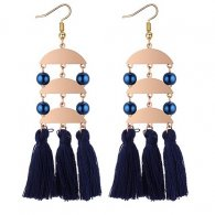 P132213 Gold Plated Navy Blue Tassel With Blue Beads Hook Earrin