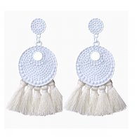 A-FX-E3708white White Bubbly Textured Circle & Tassel Earrings