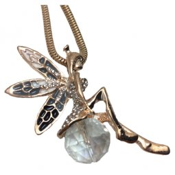 C10050502 Crystal Golden Fairy Long Necklace