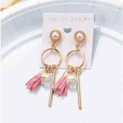 A-SQM-119Pink Pink Tassel Crystal White Bead Korean Earstud Shop