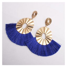 A-SD-XL0162blue Wavy Gold Metal Blue Spread Tassel Earstuds