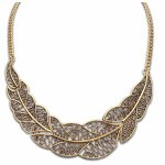 A-ZL P98986 Vintage leaves moon choker necklace shop malaysia