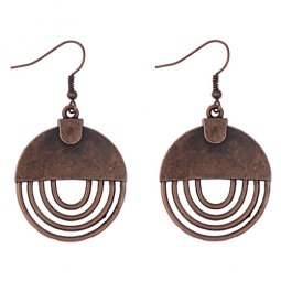 A-dw-HQE858 Vintage Bronze Circle Lines Hook Earrings Malaysia