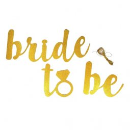 L-UN-003 Bride To Be Wording Party Banner Glitter Gold Hang On