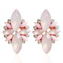 A-HY-E268 Elegant Pink Crystal Beads Korean Inspired Earrrings