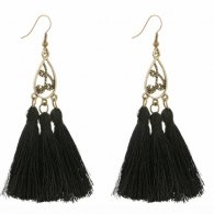 A-SD-4500bla Black Vintage Elegant Tassel Hook Earrings Malaysia