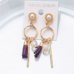 A-SQM-119Purple Purple Tassel Crystal White Bead Korean Earstuds