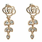 C10112638 Gold rose shiny crystals dangling korean earstuds