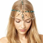 A-H2-105F006 Green Crystals Bohemian Arabian Gold Headpin