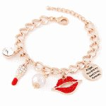 C015073527 Gold shiny lipsticks crystals charm bracelet shop