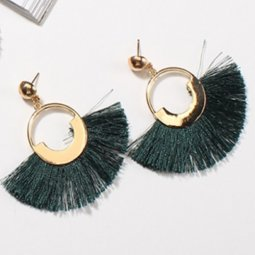 P133022 Green Tassels Gold Round Ring Elegant Style Earstuds