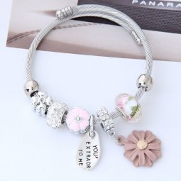 C0150712217 Silver Pink Flowers Beads Adjustable Charm Bracelet