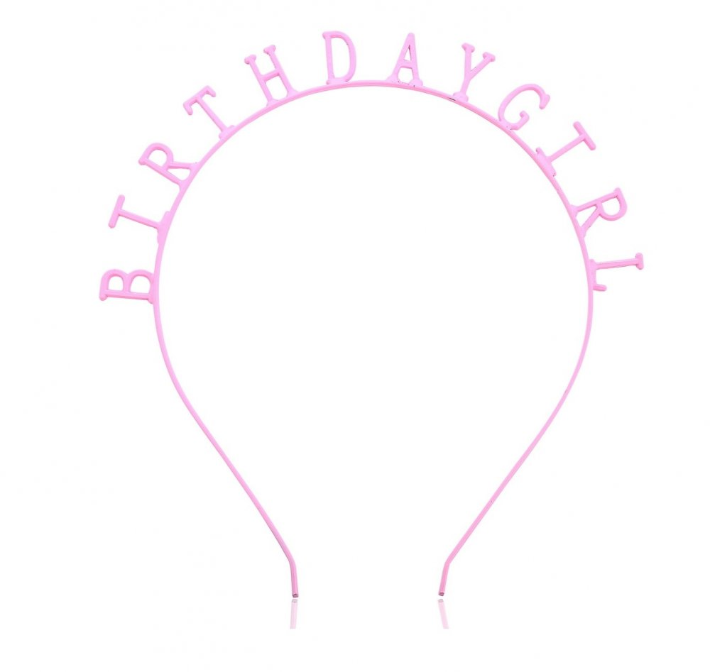 a-SY-FG001lightpink Light Pink Birthday Girl Hairband Party Fash