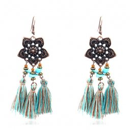 A-HH-HQEF1084 Copper Flower Beads Mix Blue Brown Tassel Earrings