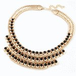C11010468 Black beads statement choker necklace accessories