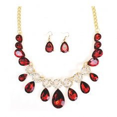 A-QF-JN0464red Red Gems With Silver Crystal Statement Necklaces