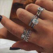 A-H2-108J101 Silver Diamond Crown Star 6 Pieces Cute Set Rings
