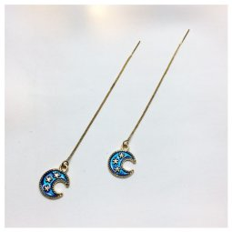 A-LG-ER0635(moon) Blue Dangling Moon Korean Style Earstuds