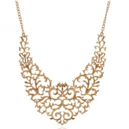 A-CJ-100X504 GOld elegant flowery choker statement necklace