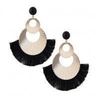C090621163 Black Spread Tassels Huge Gold Rounds Bead Eartuds