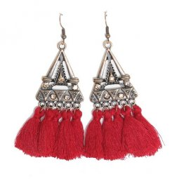 A-HH-HQEF1023mar Maroon Bright Red Tassel Triangle Vintage Hook